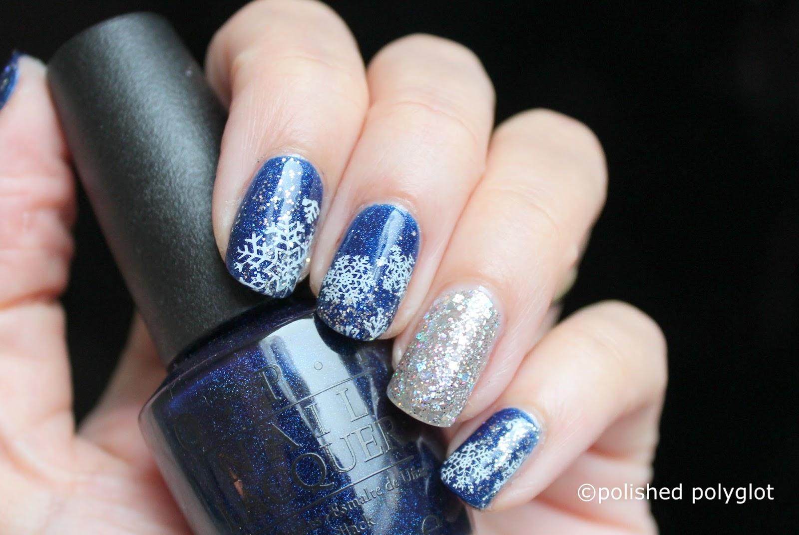 Nail art Blue, Silver and White Winter nail design [Nail