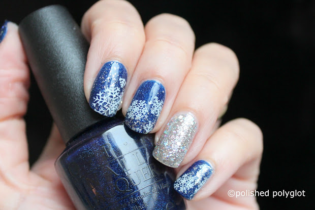 nail art blue silver and white