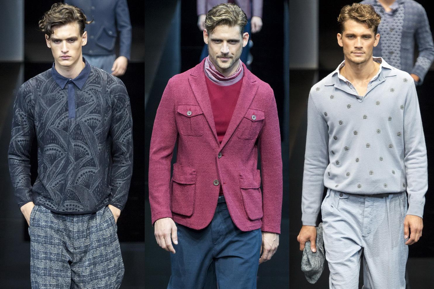 a60315ba2298474 Приглушенная палитра цветовой гаммы в большинстве приталенных моделей  мужской одежды летней коллекции Giorgio Armani 2017 имеет формальный стиль,  ...