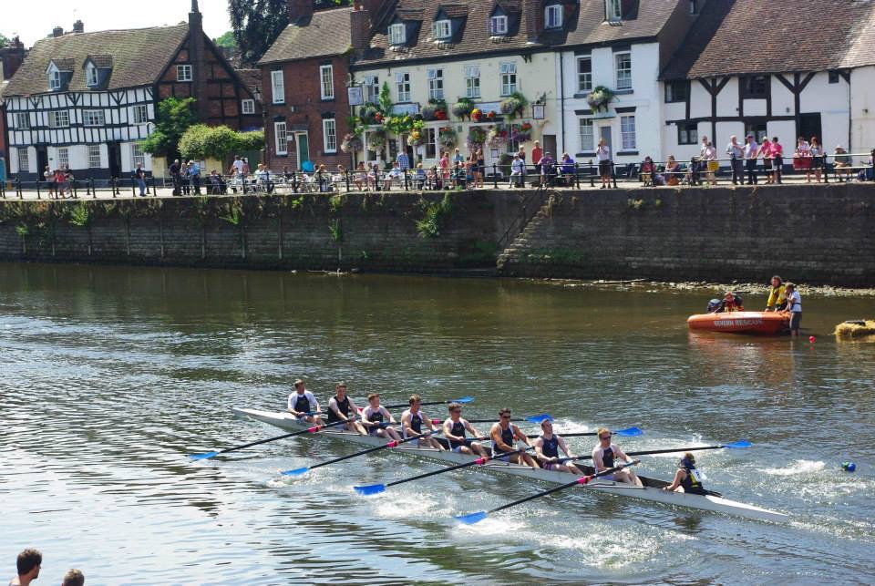 Thomas rowing with his team in Chester.