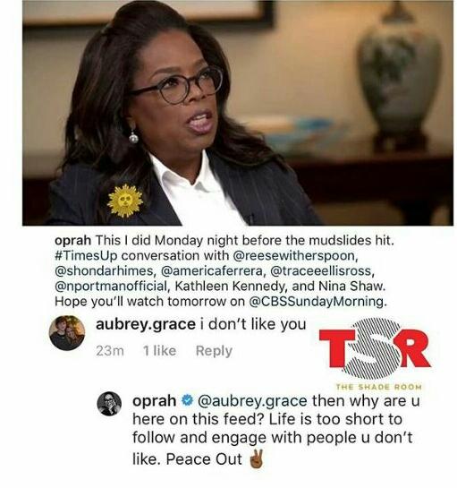 Oprah Winfrey claps back at troll