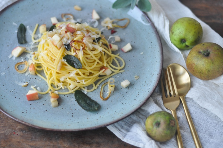 #glutenfree #pasta with crispy #sage and #apples