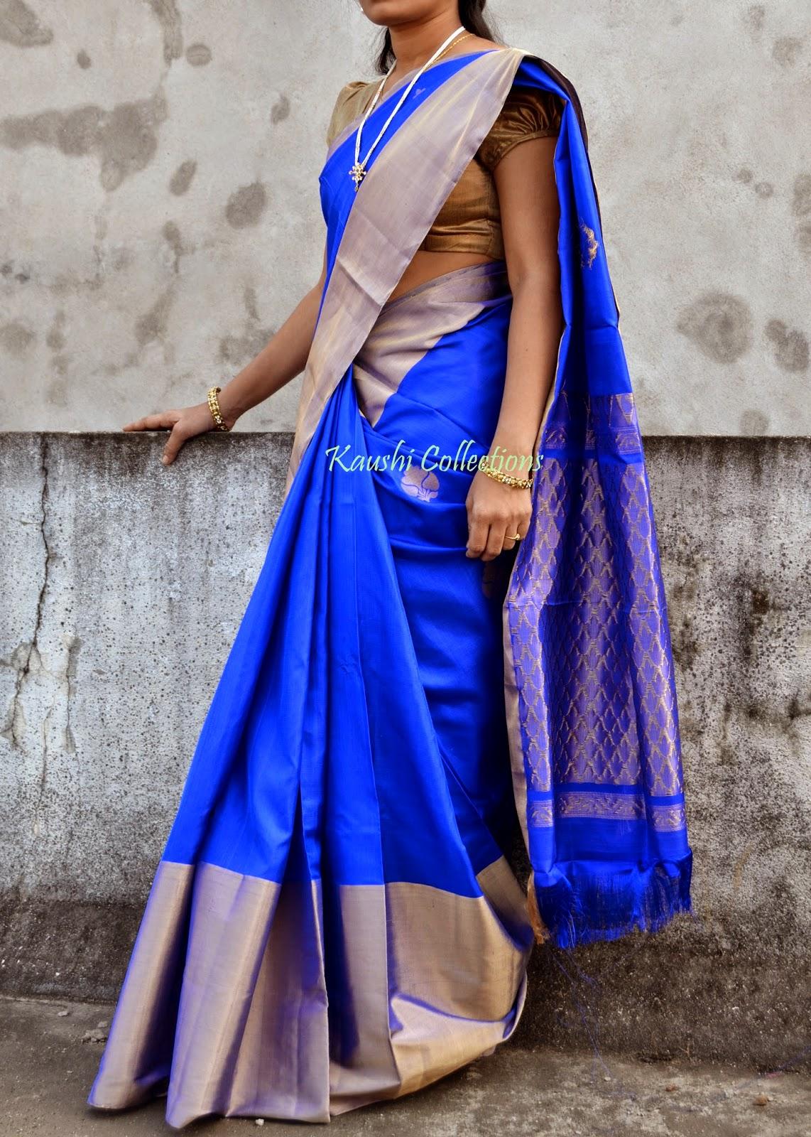 7f333ed1a0e212 Royal blue Uppada designer saree   Sparkling Fashion