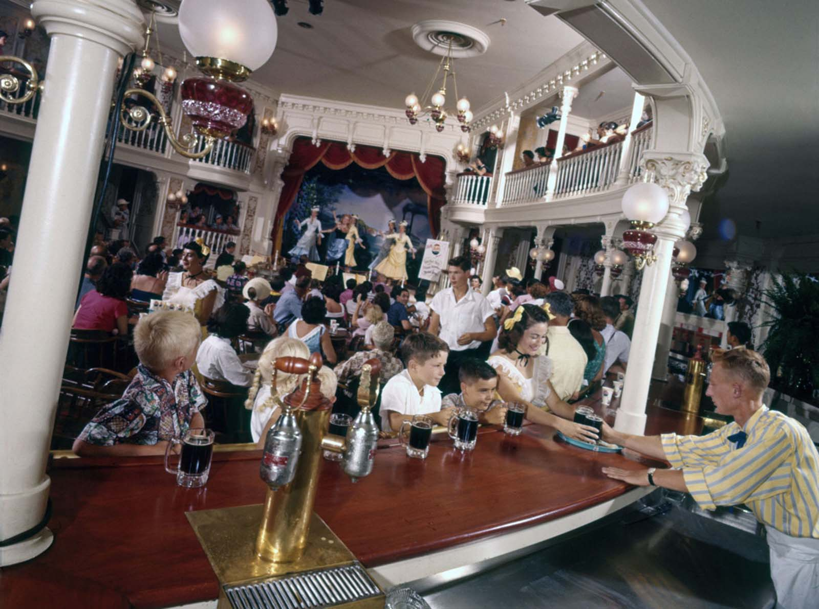 A children's saloon, the Golden Horseshoe, photographed at Disneyland on July 17, 1955.