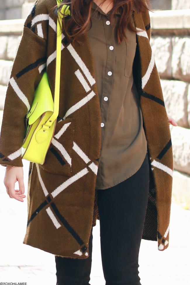 日本人ファッションブロガー,MizuhoK,今日のコーデ,SheIn‐オリーブグリーンシャツ,Zaful-アーガイル柄ロングカーディガン,GU-ブラックスキニージーンズ,ESPERANZA-ブーティー,CambridgeSatchel-サッチェルバッグ, 大人カジュアルコーデ
