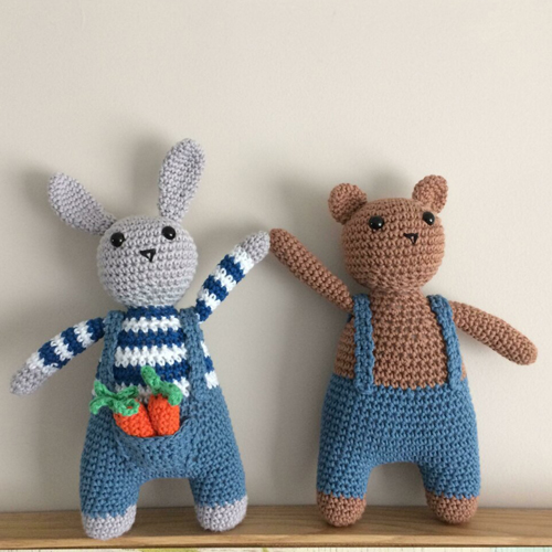 Bunny & Bear in Blue Jeans - Free Crochet Pattern
