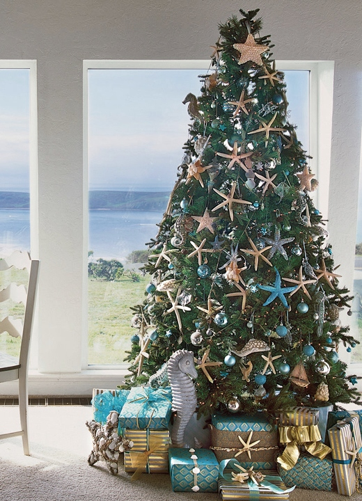 Tree with Starfish Ornaments