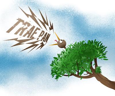 Pájaro chillando desde una rama en un arbol
