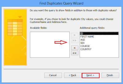 Select other fields to display in addition to the duplicate value fields