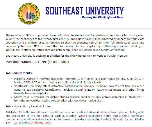Southeast University - Lecturer (Economics) - Job Circular ...
