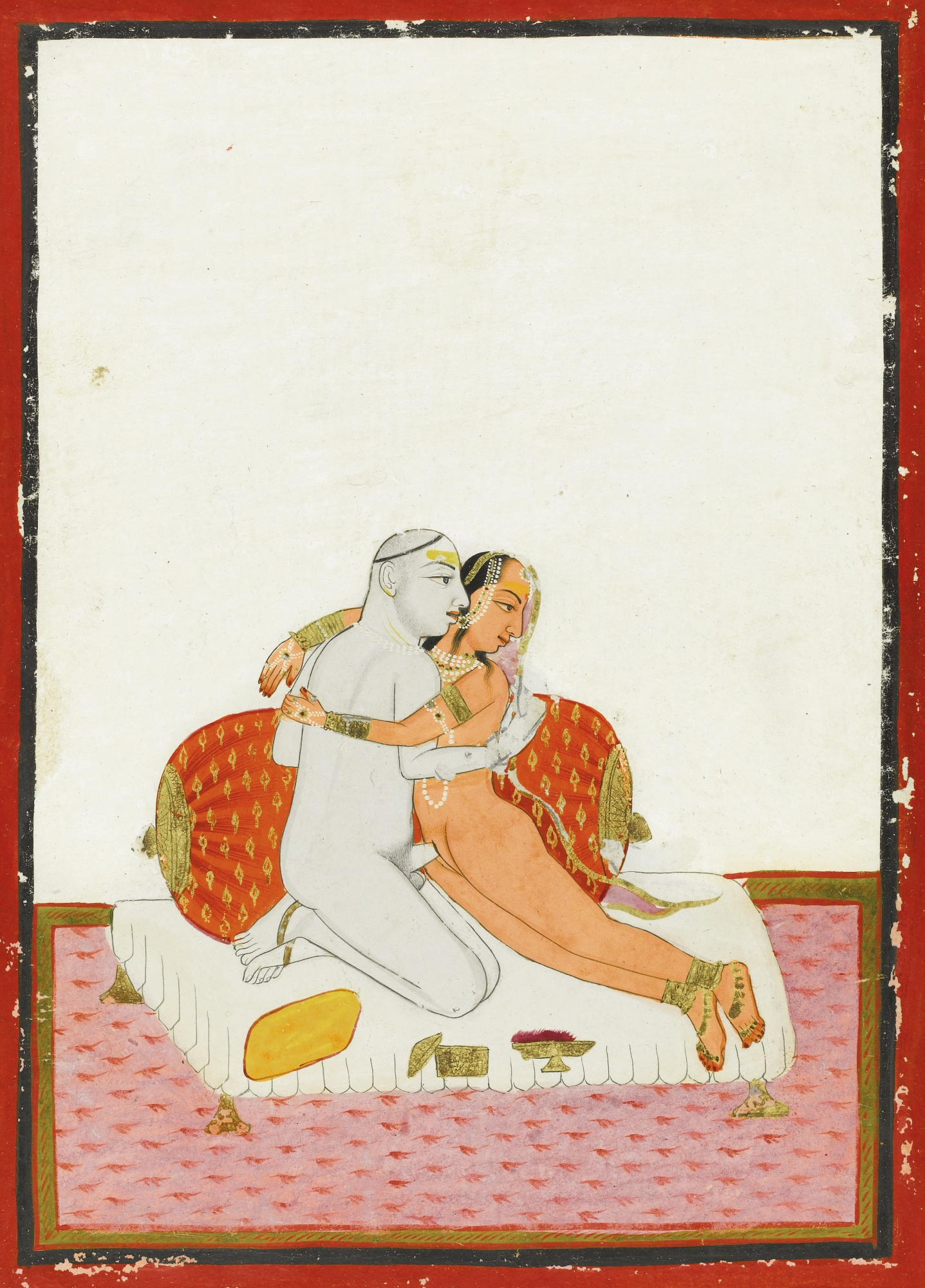 An Ascetic with his Lover on a bed Engaged in Lovemaking - Rajput Miniature Painting, Mewar, Udaipur, circa 1740-50