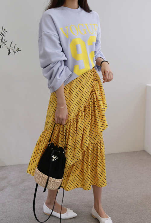 Printed Asymmetrical Tier Skirt