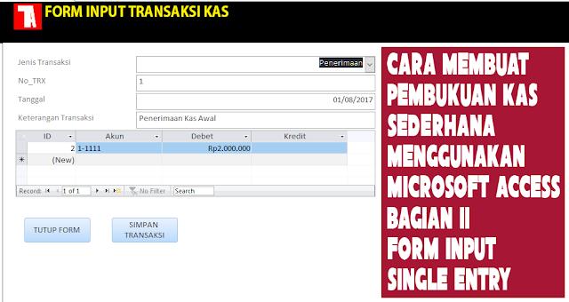 Form input transaksi single entry