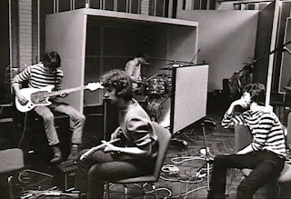 Blues Section recording at the new Finnvox studio. Left to right: Måsse Groundstroem, Hasse Walli, Ronnie Österberg, Jim Pembroke, and in the background Eero Koivistoinen. Helsinki, Summer 1967. Photo: Hasse Walli's album