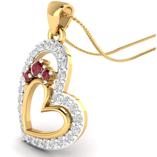 Heart with Ruby Pendant by Velvetcase.com