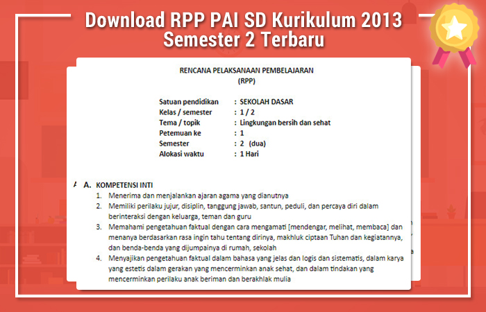 Download RPP PAI SD Kurikulum 2013 Semester 2 Terbaru