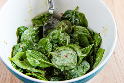 Spinach Salad with Bacon Dressing found on KalynsKitchen.com