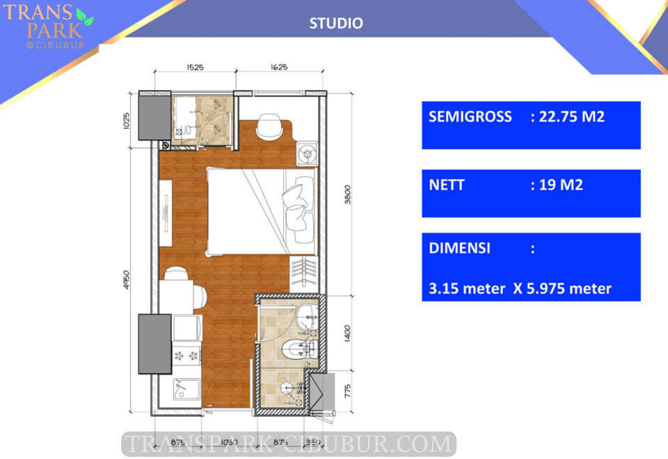 Denah Tipe Studio Apartemen TransPark Cibubur