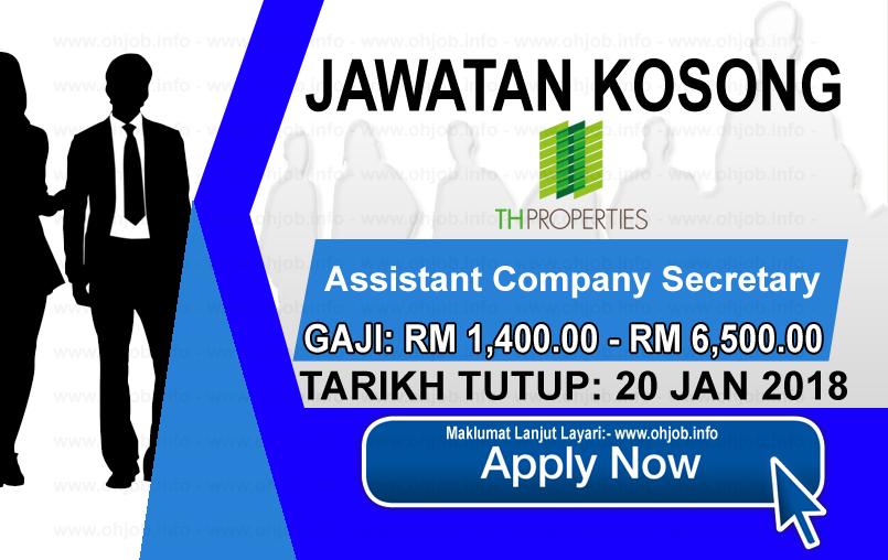 Jawatan Kerja Kosong TH Properties Sdn Bhd logo www.ohjob.info januari 2018