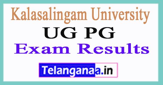 Kalasalingam University UG PG Exam Results 2018