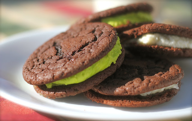 Homemade Oreo Cookies with green filling.