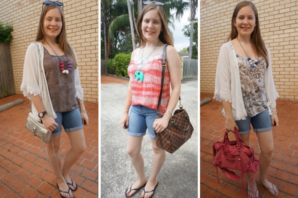 3 Ways to Wear: Printed tanks and kimono outfits | away from the blue blog