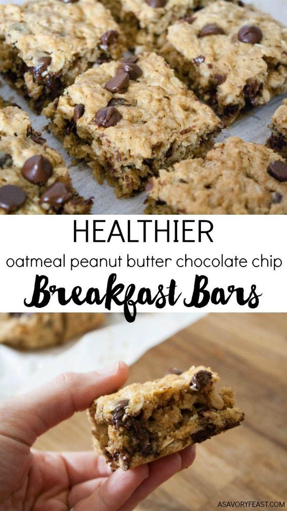 Healthy Breakfast Bars (Oatmeal Peanut Butter Chocolate Chip)