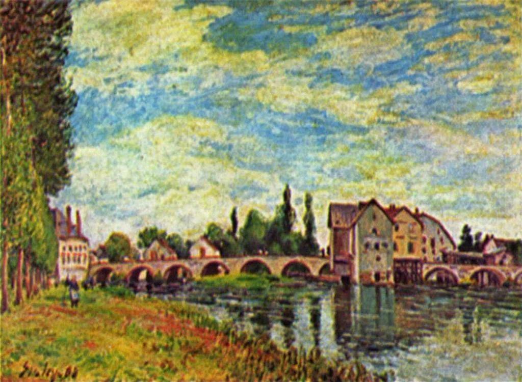 A Ponte e os Moinhos de Moret - Alfred Sisley ~ Um dos mais representativos paisagistas do impressionismo