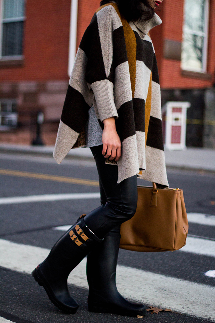 Poncho & Leather Pants (  Chooka Top Solid Rain Boots Review ...