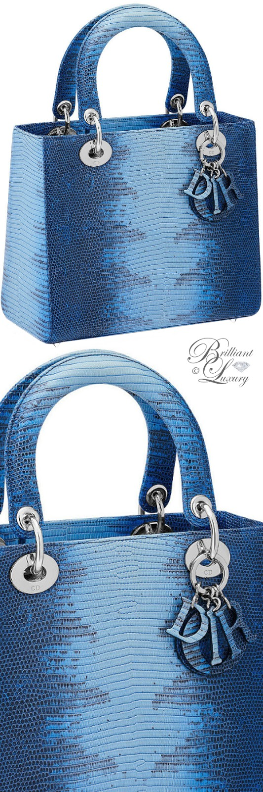 Brilliant Luxury ♦ Lady Dior bag in blue shaded lizard