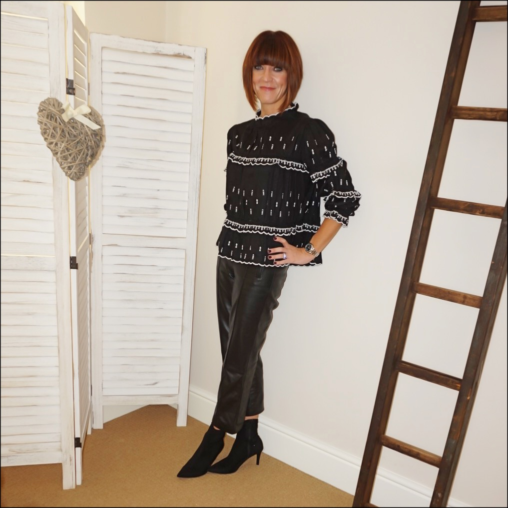 my midlife fashion, marks and spencer leather straight leg trousers, isabel marant etoile embroidered blouse, marks and spencer stiletto heel velvet ankle boots