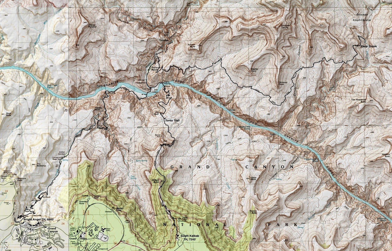 Earthline The American West Grand Canyon South Rim Corridor - Grand canyon campground map