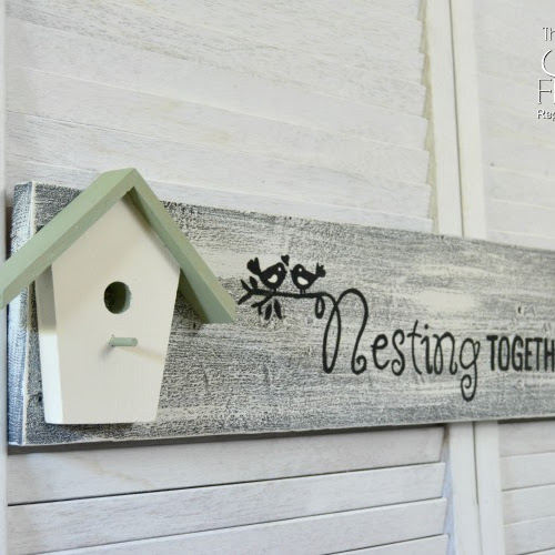 Adorable Nesting Together Birdhouse Sign