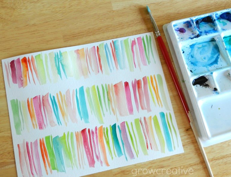 Abstract Stripes Watercolor Painting Tutorial