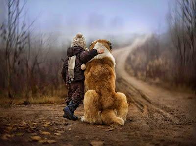 niño con su perro gigante
