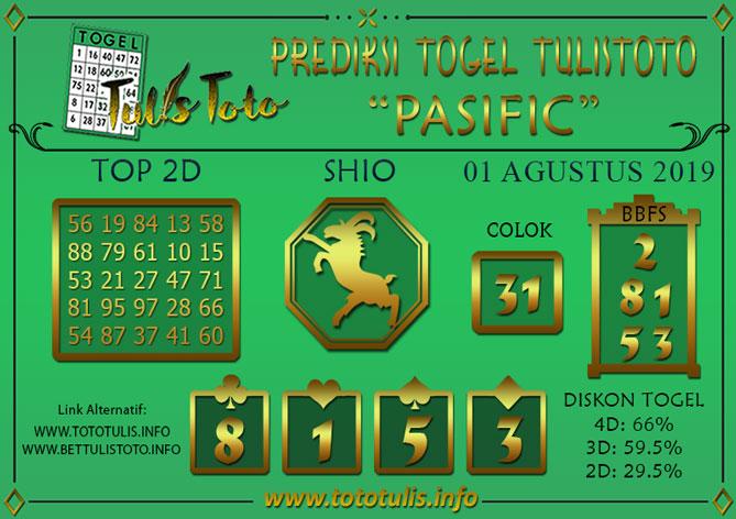 Prediksi Togel PASIFIC TULISTOTO 01 AGUSTUS 2019