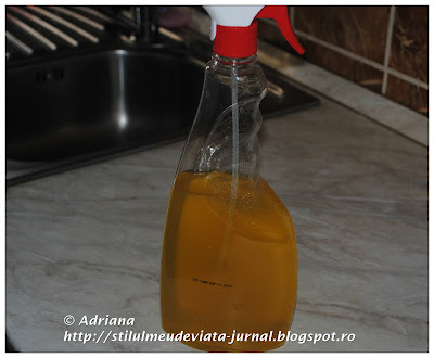 Solutie naturala de curatat cu otet si coaja de citrice