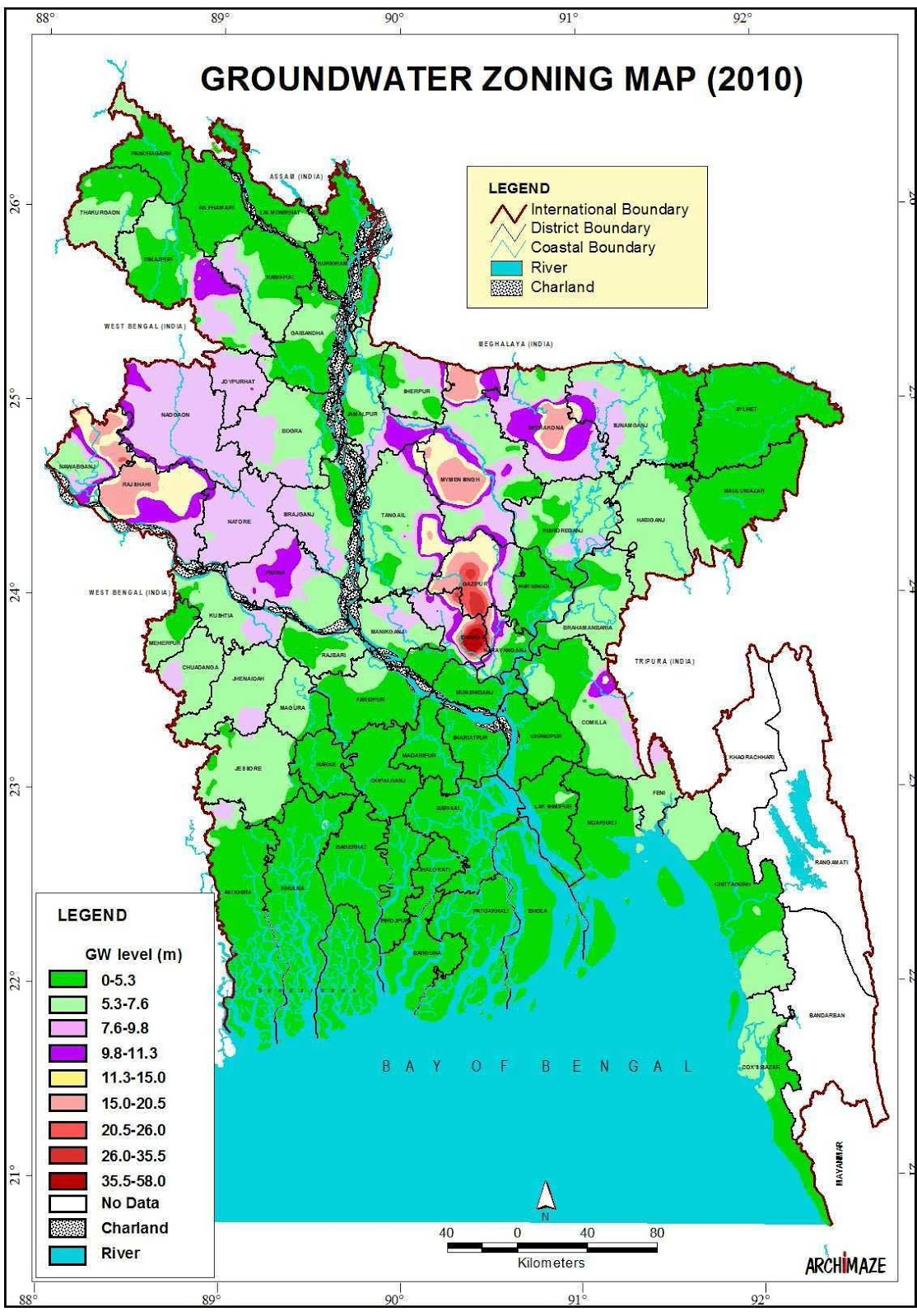 Groundwater Zoning Map Bangladesh (2010)