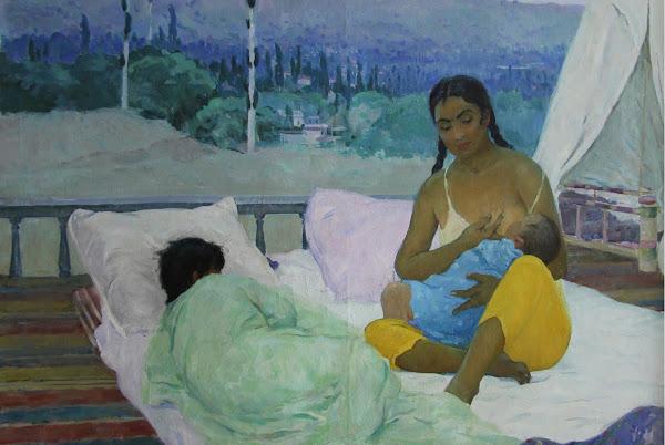 Ouzbékistan, Tachkent, Musée Nation des Beaux-Arts, 'Maternité. Matin.', Akhmedov R.A., tapshan, tapchane, © L. Gigout, 2012