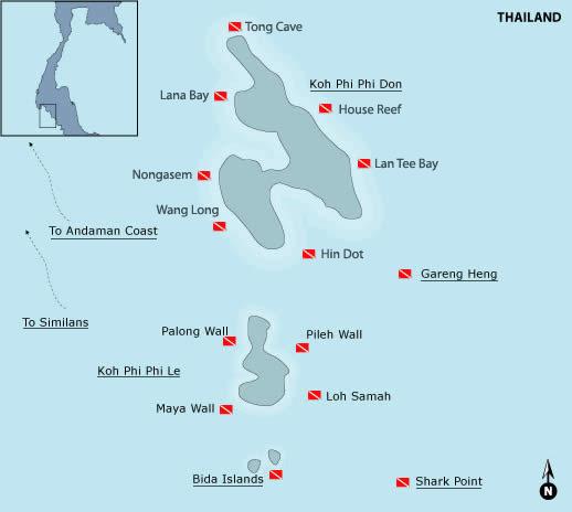 The Phi Phi Beach Resort Map: Phi Phi Island Dive Maps