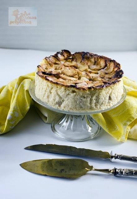 foto de portada de tarta de queso y manzana