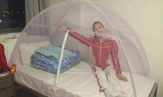 Preocupadas com o vírus da zika, ginastas chinesas dormem em camas cobertas com telas