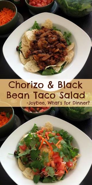 Chorizo and Black Bean Taco Salad:  Taco salad made with black beans, chorizo and spices.