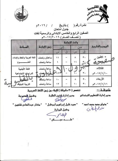جدول إمتحانات الترم الاول محافظة القليوبيه 2017 للشهادة الابتدائيه