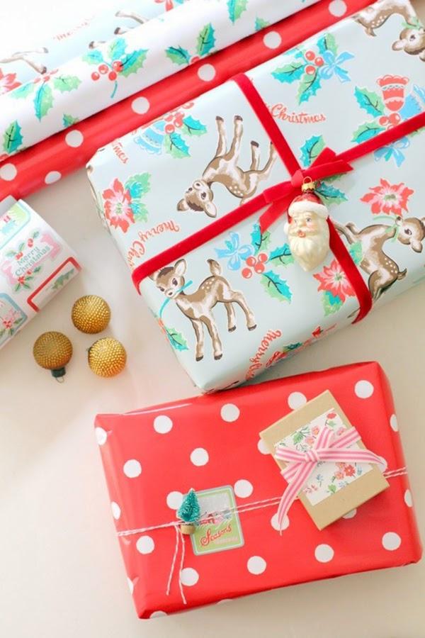 Susannah Olivera Cath Kidston gift wrap with vintage santa bauble