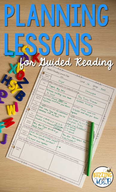 If you're looking for a lesson plan template for guided reading, look no further. This post includes a free download ofa  template along with strategy resources that will help you implement guided reading in your classroom! Small groups in upper elementary don't have to be difficult to plan for if you approach it thoughtfully! Learn how to choose a strategy, choose a book, and write an introduction, prompts, and questions to help your students grow!