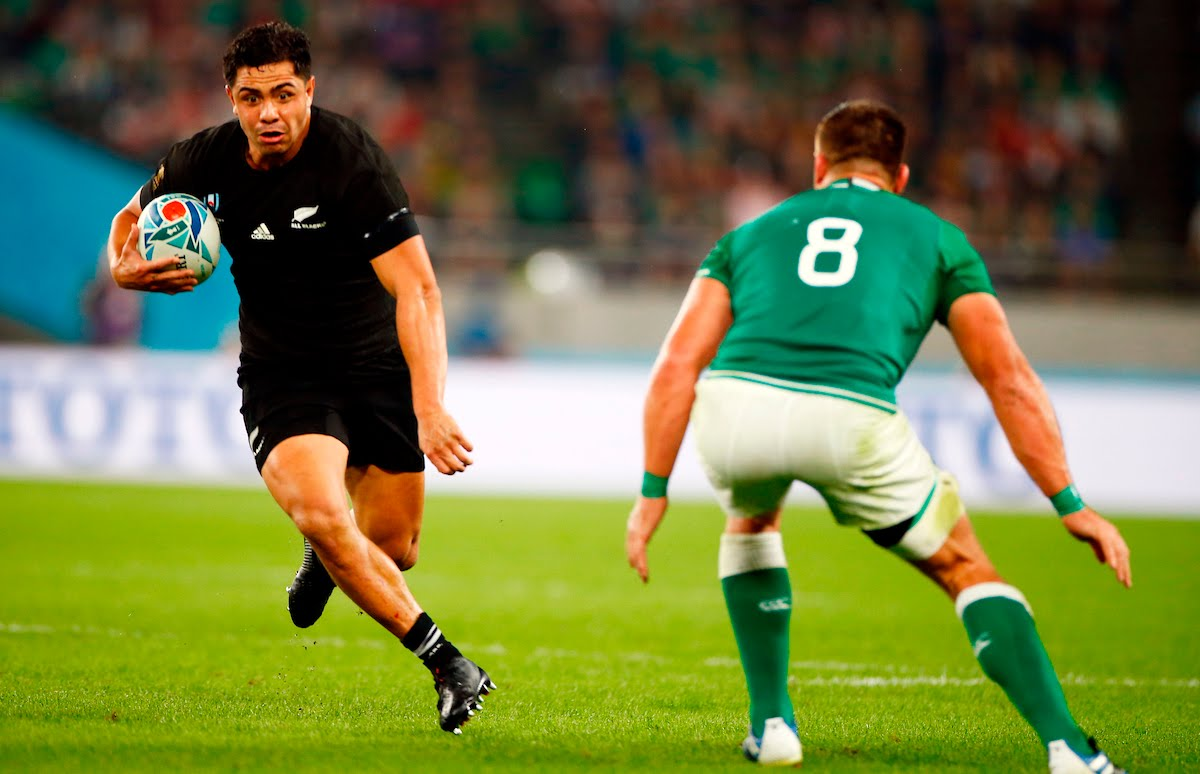 Anton Lienert-Brown of New Zealand (All Blacks) during the New Zealand and Ireland Rugby World Cup Quarter-Final at the Tokyo Stadium