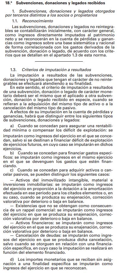 PGC Plan General Contable Subvenciones donaciones legados recibidos