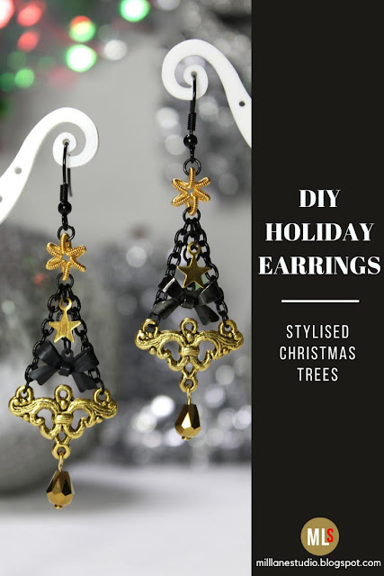 Black and Gold Christmas tree earrings inspiration sheet