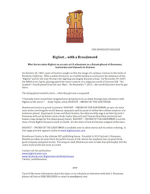 Bigfoot Sword of the Earthman press release comic book barbarian graphic novel marketing